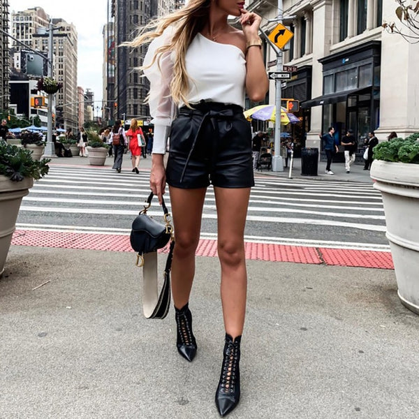 Faux Leather High Waist Shorts Women Black With Belt Bow Casual