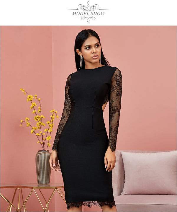 Black Hollow Out Long Sleeve Lace Bandage Dress