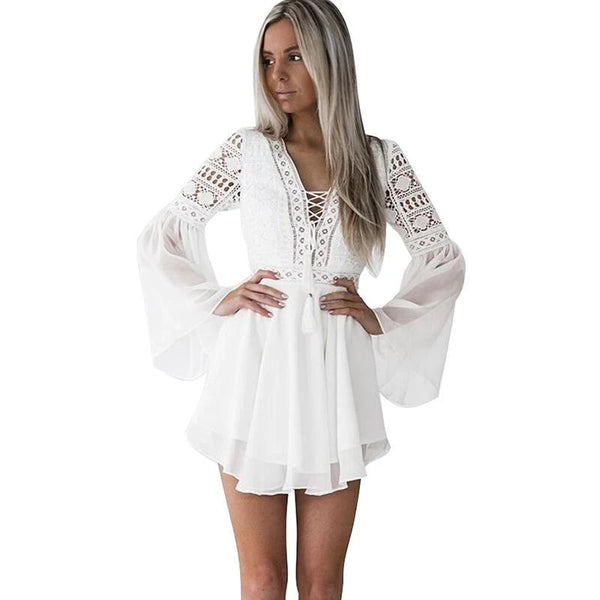 Semi-Sheer Plunge V-Neck Long Sleeve Crochet Lace Dress