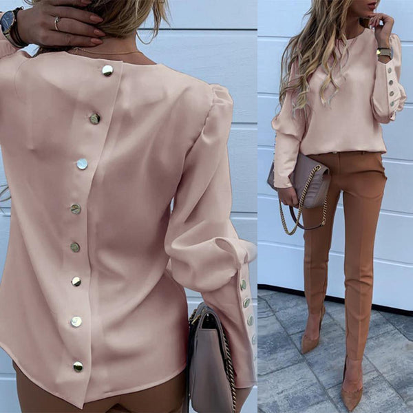 Elegant Metal Button Down Long Sleeve Puff Shoulder Blouse