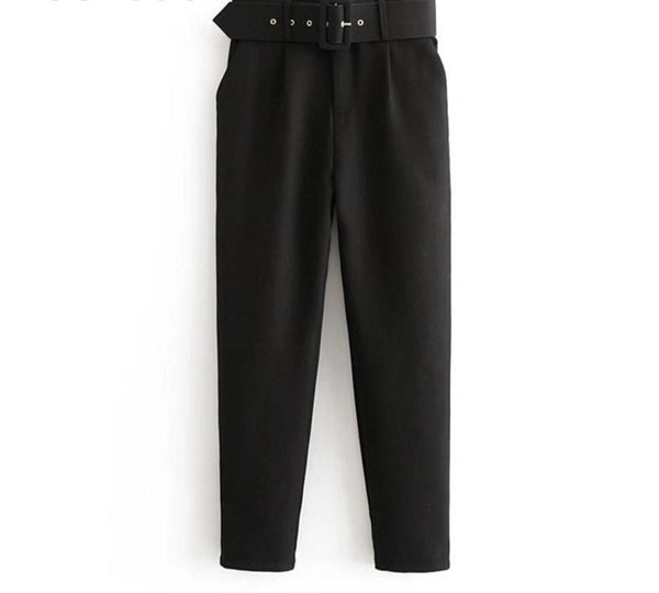 Women High Waist Solid Long Pants