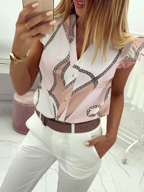 Elegant V-Neck Ruffles Stylish Print Casual Blouse