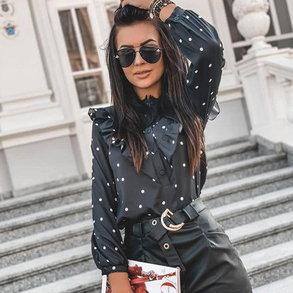 Long Sleeve Elegant Half Button Down Polka Dot Ruffle Blouse Shirt