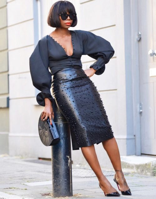 Diva Leather Skirt With Back Split