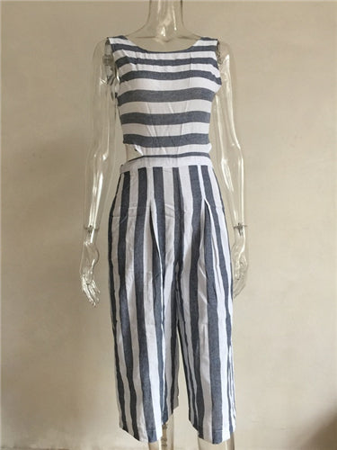 Sleeveless Striped Casual Long Wide Leg Jumpsuit
