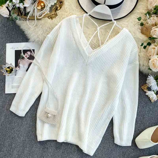 Spaghetti Strap Off Shoulder Long Sleeve Pullover Knit Sweater