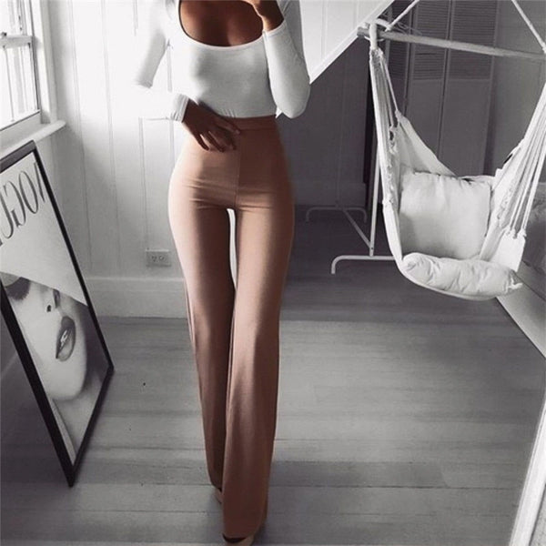 High Waist Flare Long Pants