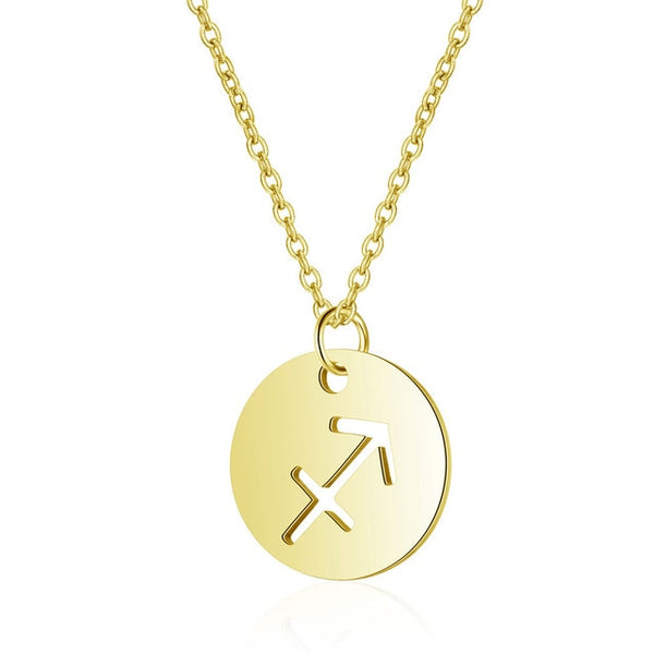Stainless Steel Gold Color Twelve Zodiac Constellations Charm Pendant Necklaces