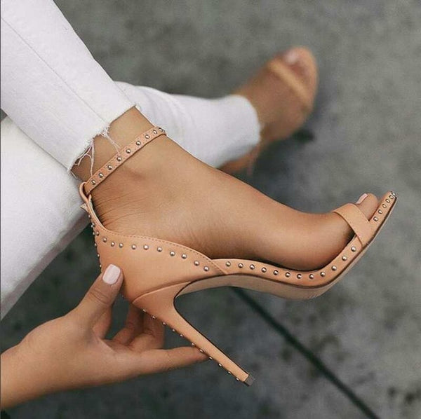 Super High Pointed Toe Bucket Strap Heels
