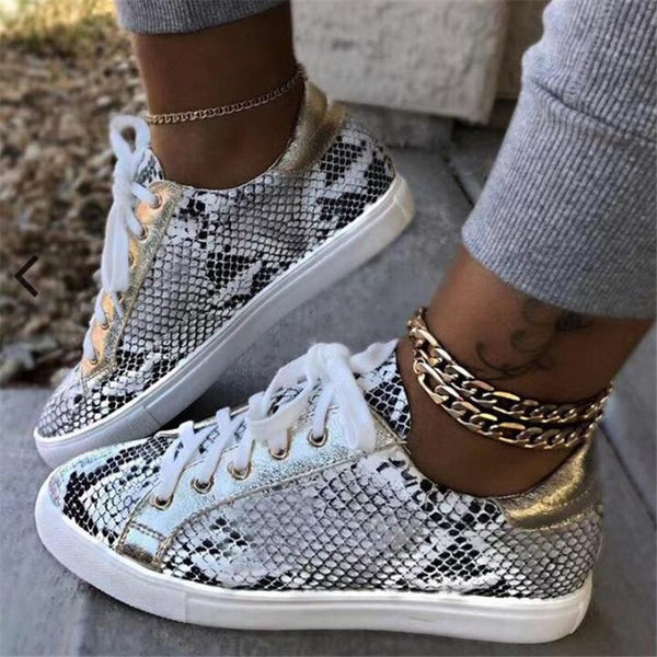 Snake Printing Leather Lace up Sneakers