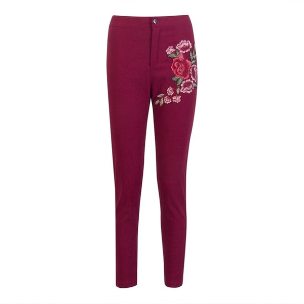High Waist Flower Embroidered Skinny Jeans