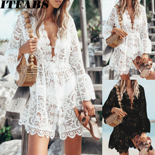 Women Sheer Lace Bikini Cover-up Cardigan Swimwear Floral V Neck