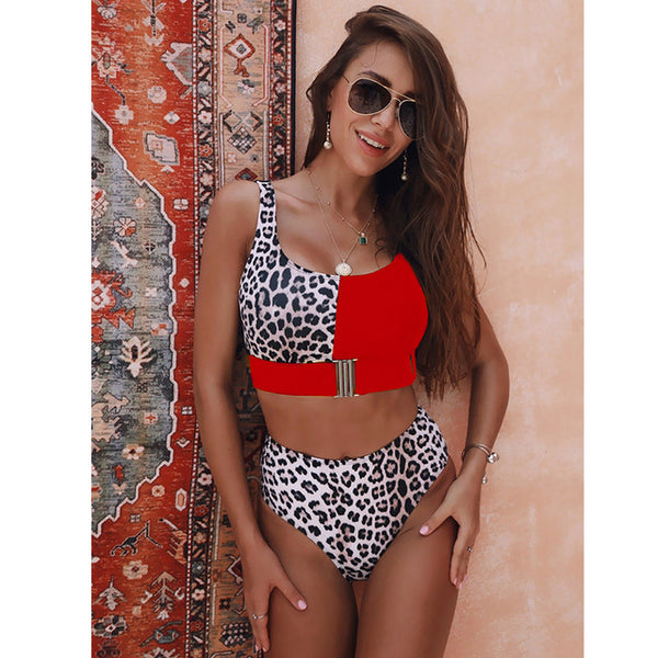 High Waist Push Up Buckle Bikini Swimsuit