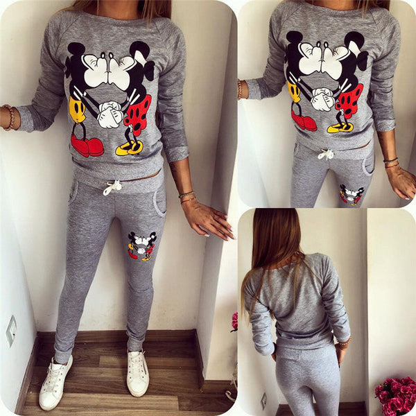 2 Piece Mickey & Minnie Cartoon Print Long Sleeve Tracksuit