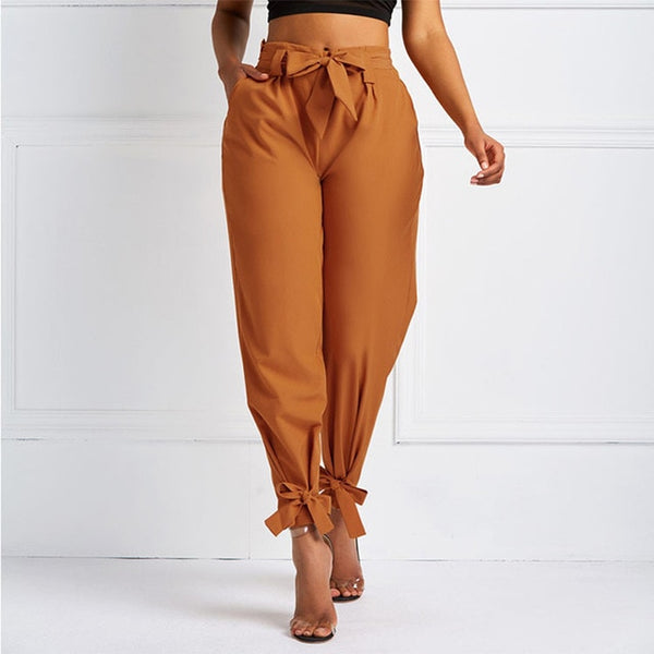 High Waist Long Pants With Sash Bow