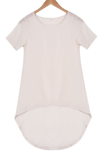 Loose Short Sleeve Blouse Top With Tail