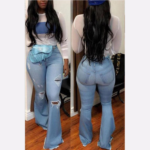 High Waist Flare Bell Bottom Ripped Wide Jeans  (Plus Size Available)