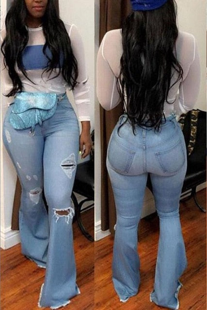 High Waist Mom Flare Jeans (Plus Size Available)