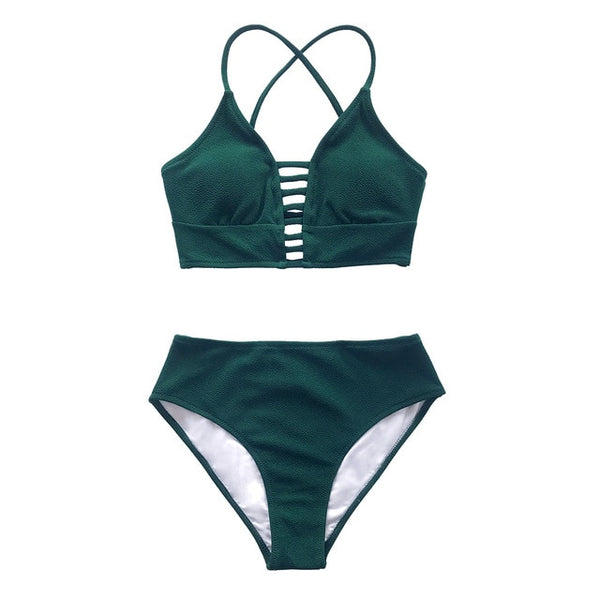 Two Piece Solid Lace Up Bikini Set With Leafy Bottoms