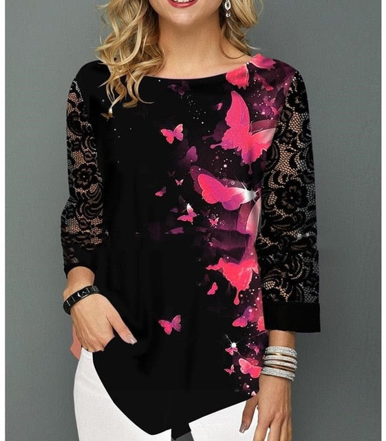 Ruffles Lace V- Neck Crochet Blouse