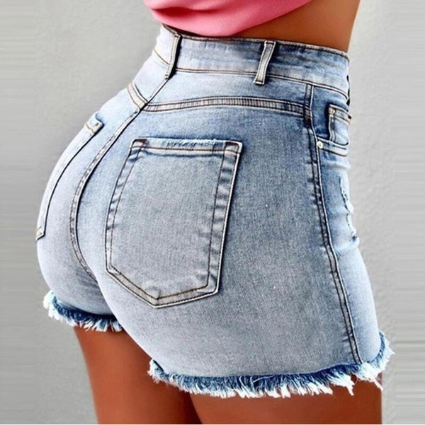 High Waist Push Up Denim Mini Shorts With Tassels