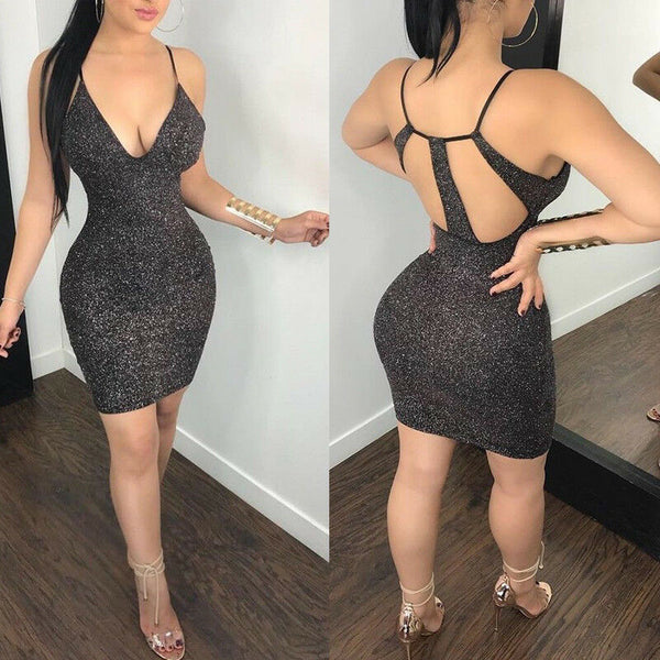 Backless V Neck Bodycon Dress