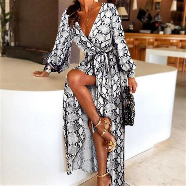 Deep V-Neck Long Printed Party Dress