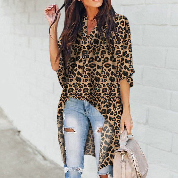 Long Sleeve Loose Leopard Print Top