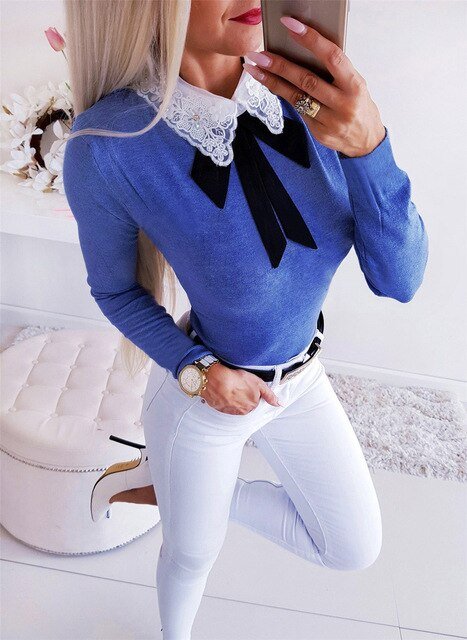 Long Sleeve Lace Bow-Knot Collar Sheath Tops