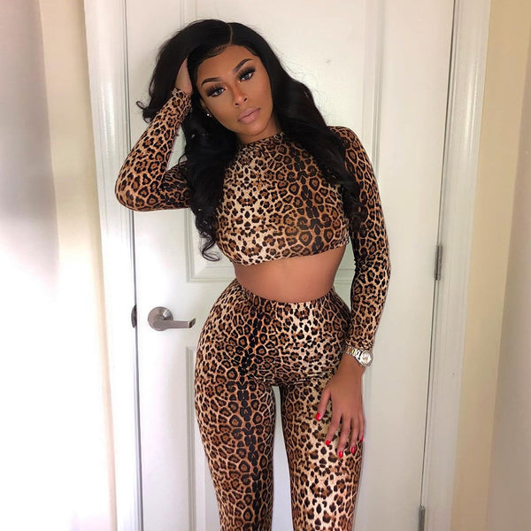2PC  Leopard Print Crop Top Tracksuit