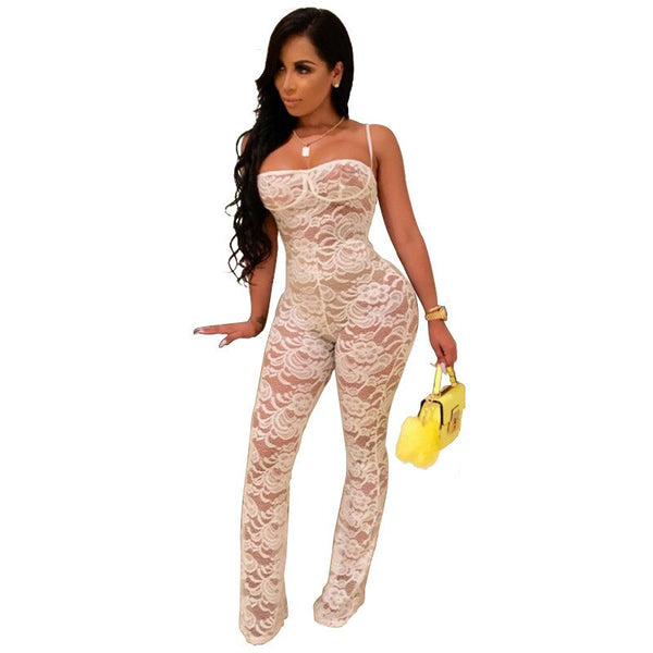 Straped Lace Backless Rompers Jumpsuit