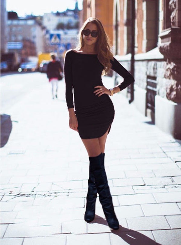 Long Sleeve Tunic Top Short Mini Dress