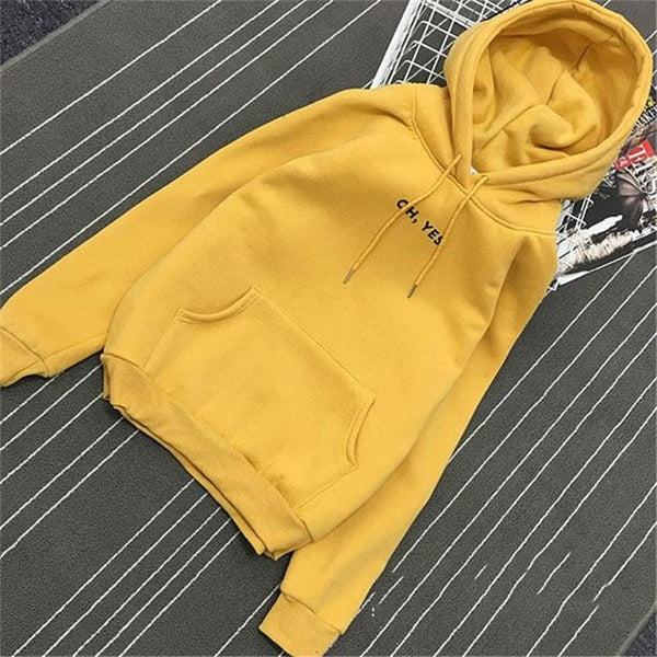 Oh Yes Letter Print Pullover Thick Loose Hoodies Sweatshirt