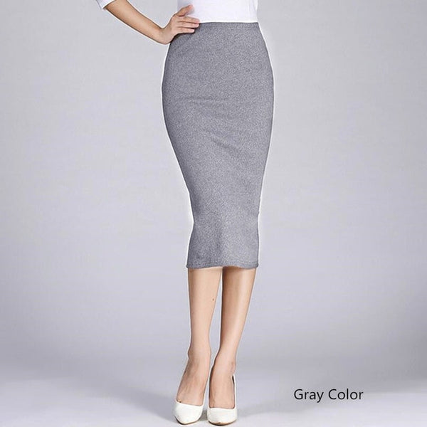 Slim Knitted High Elastic Hip Stretch Mid-Calf Solid Pencil Skirt