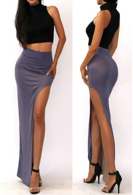 Open Side Split High Waist Long Maxi Skirt