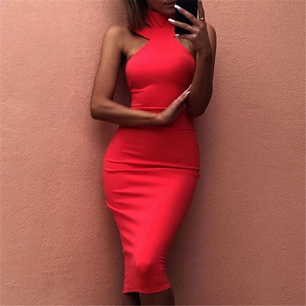 Turtleneck midi bandage Dress