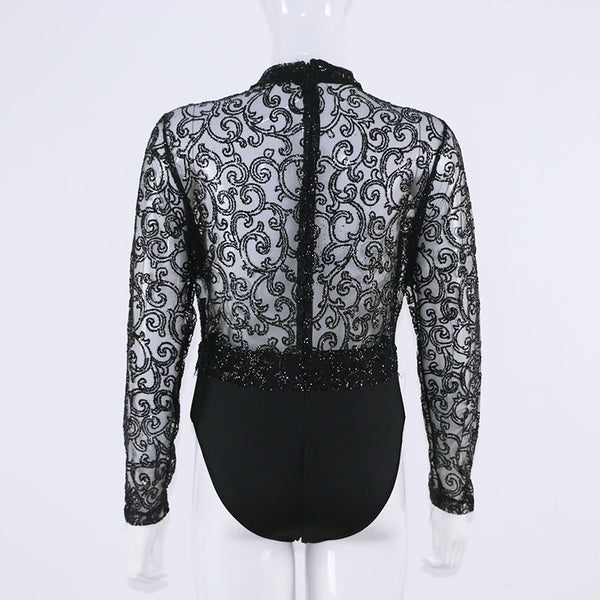 Gold Black Glitter Lace Embroidery V- Neck Long  Sleeve Jumpsuit Top