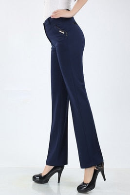 High Waist Straight Causal Pants With Pockets
