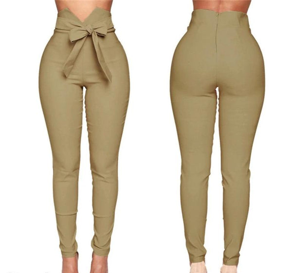 Black or Khaki Belted High Waist Pencil Pants