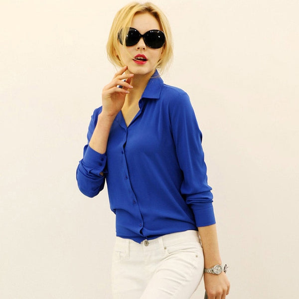 Long-sleeve Slim Fit Blouse