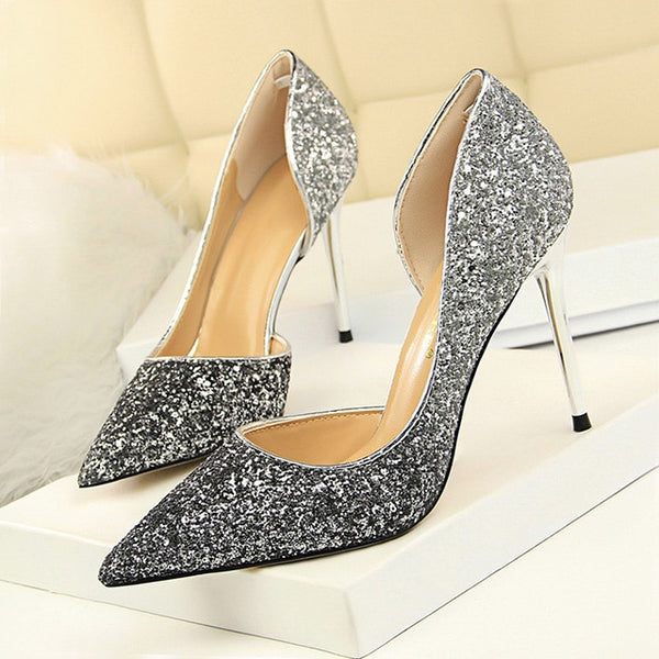 Sequined Cloth Slip- On Stiletto
