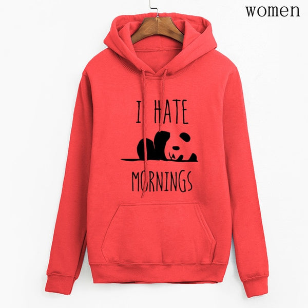 Long Sleeve Hoodies Fleece Panda I HATE MORNINGS Sweatshirt