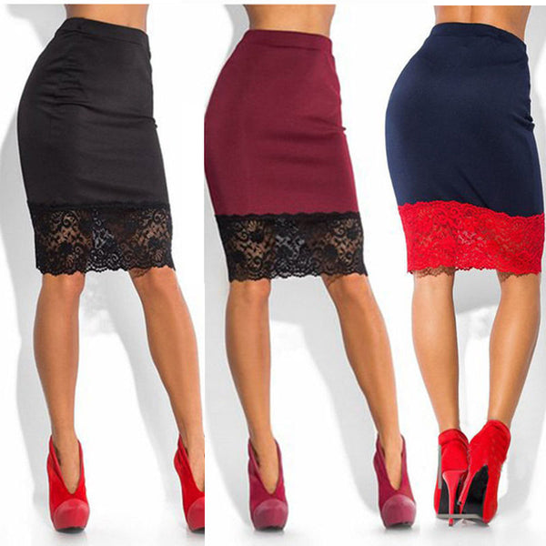 Stretchy High Waist Short Lace Skirt Pencil Skirt