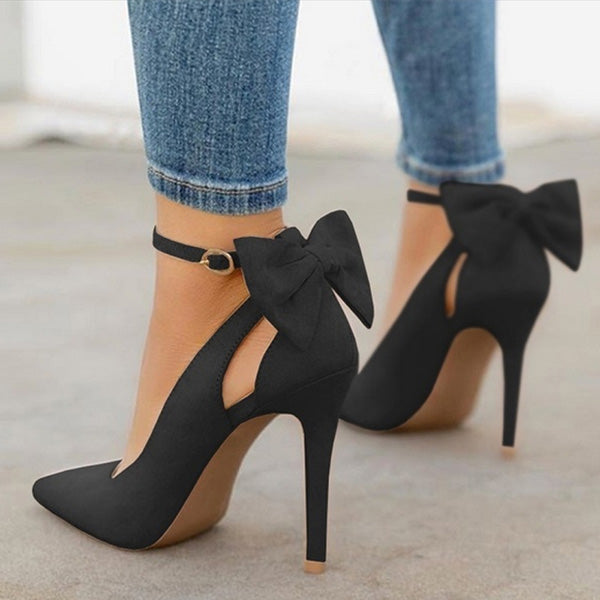 Women High Heels Pumps Pointed Toe Buckle Strap Butterfly
