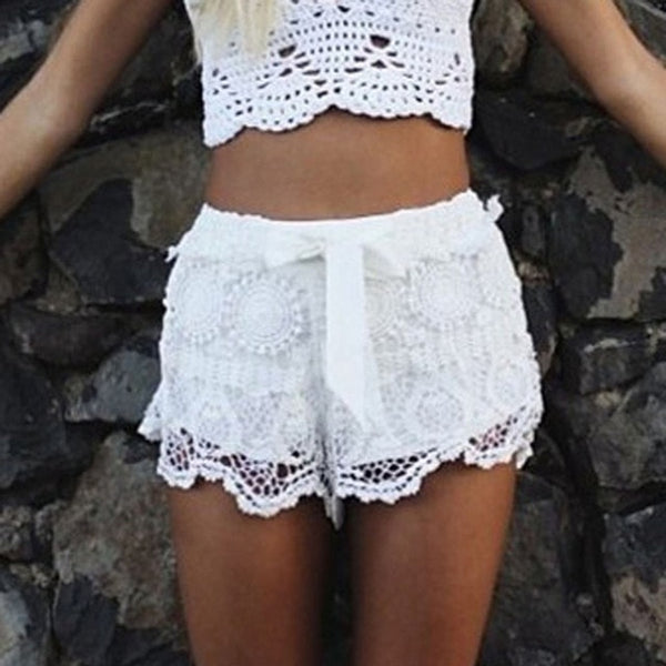 Elastic Waist Lace Bow Mini Beach Shorts