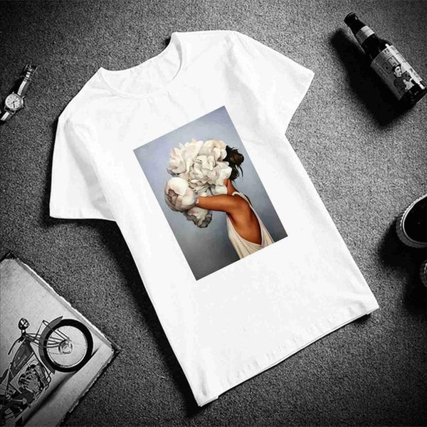 Short Sleeve Flowers Feather Print T-Shirt