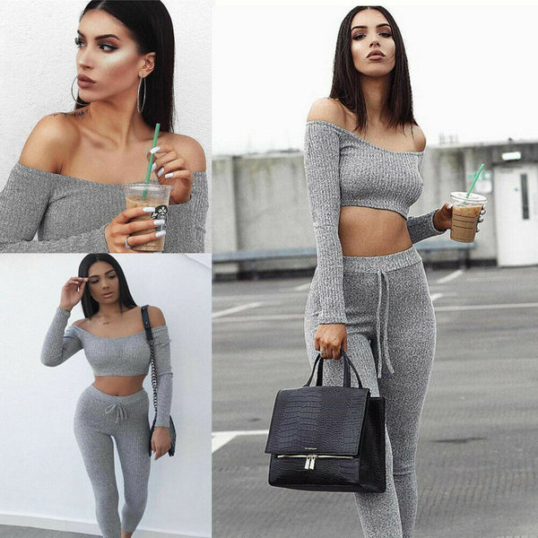 Fashion 2 Piece Set Women Off Shoulder Crop Top And Long Pants Suit