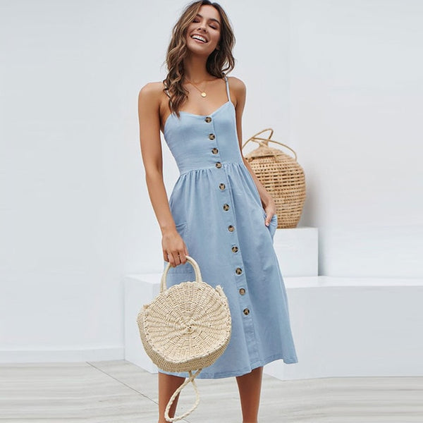 Vintage Style Sexy Button Backless Striped Floral Beach Dress