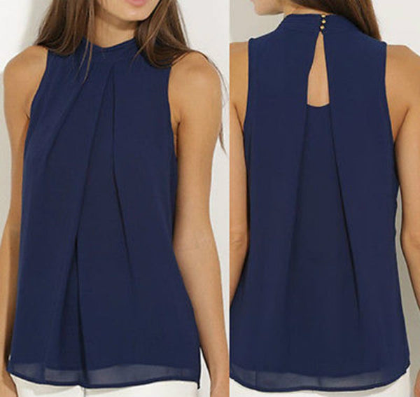 Blue Sleeveless Tank Top Blouse