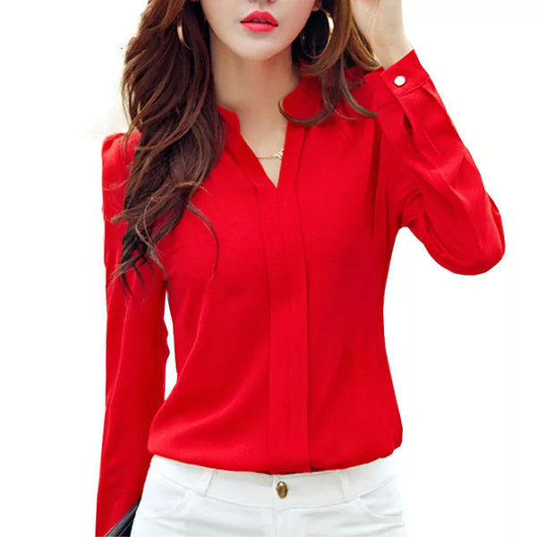 Long Sleeve V Neck Blouse